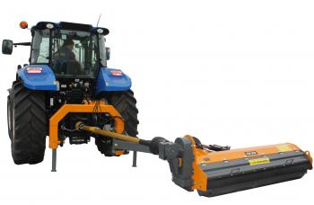 Flail mower offset / in-line mulcher for grass
